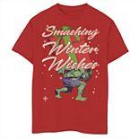 Men's Marvel Hulk Smashing Winter Wishes Christmas Tee