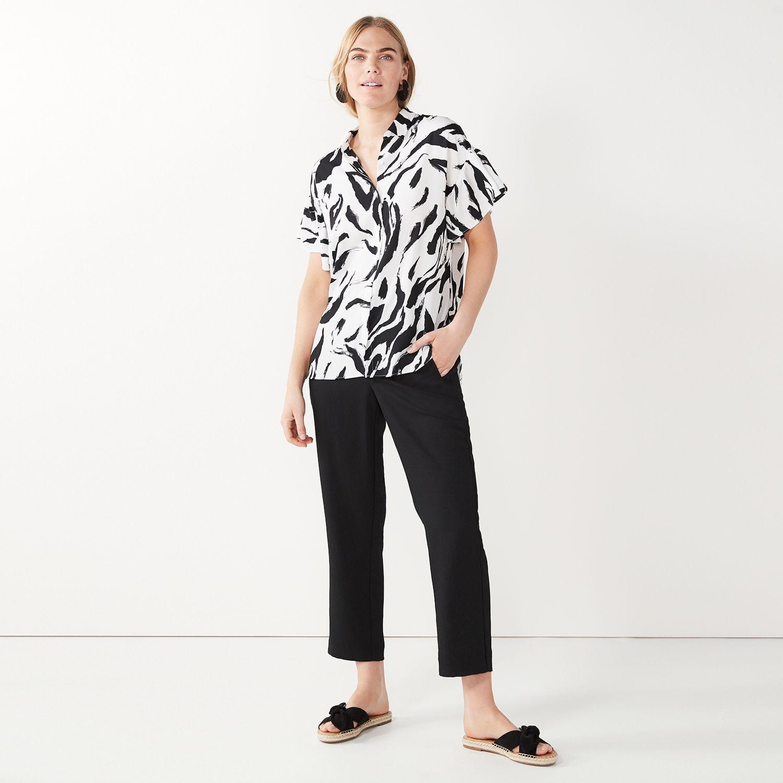 Women's Nine West Flutter-Sleeve Button-Down Top