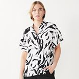 Women's Nine West Flutter-Sleeve Button-Down Top