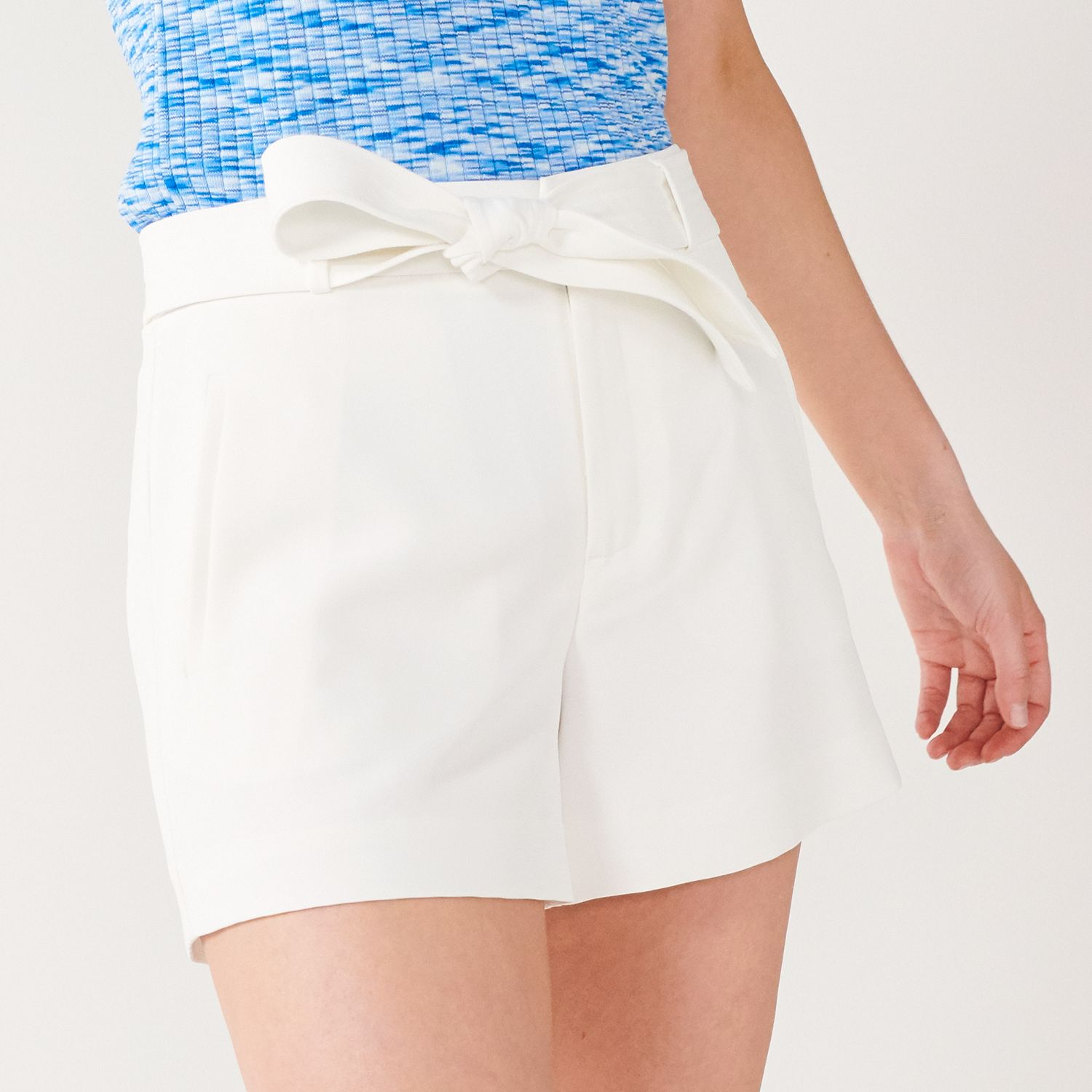 """Women's Nine West Belted Flat Front 4"""" Shorts"""