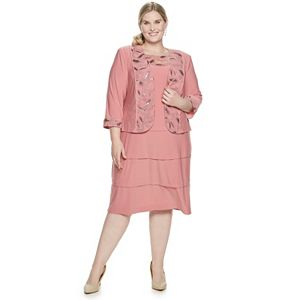 Plus Size Le Bos Tiered Dress and Embroidered Jacket Set