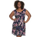 Plus Size Suite 7 Floral Lace Fit & Flare Dress