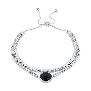 LovethisLife Two-Row Silver Tone Onyx Bolo Bracelet