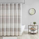 Urban Habitat Charlie Cotton Yarn Dye Shower Curtain & Pom Poms
