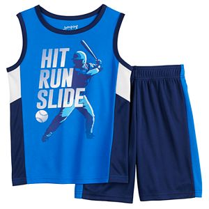 Boys 4-12 Jumping Beans® Pieced Sports Muscle Tee & Shorts Set