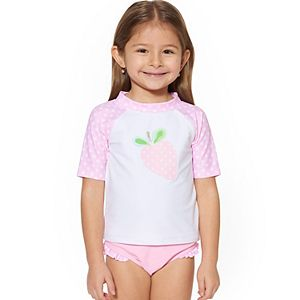Toddler Girl Kiko & Max Strawberry Rash Guard Set