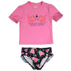 "Toddler Girl Kiko & Max ""Cutest Catch"" Rash Guard Set"