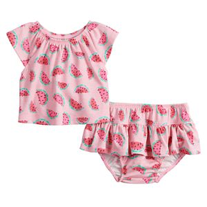 Baby Girl Jumping Beans® Watermelon Raglan Top & Ruffled Bottoms Set
