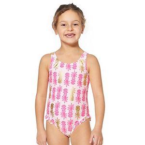 Toddler Girl Kiko & Max Pink Pineapple One-Piece Swimsuit