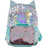 Girls Metallic Kitty Backpack Lunch Set