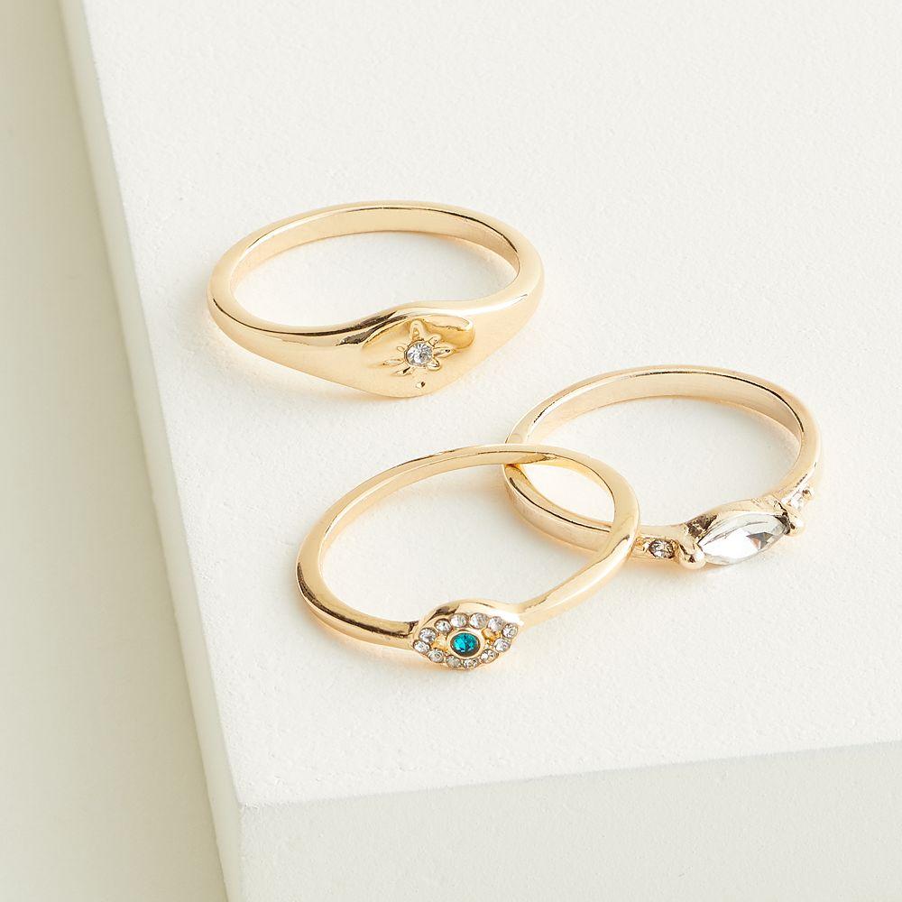 Elizabeth and James Gold Tone Evil Eye Stackable Ring Set