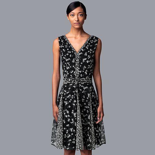 Petite Simply Vera Vera Wang Print Fit & Flare Dress