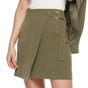 Petite Nine West D-Ring Utility Pocket Wrap Skirt