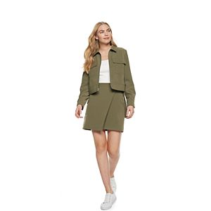 Petite Nine West Patch Pocket Trucker Jacket