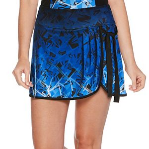 Women's Grand Slam Geometric Faux-Wrap Tennis Skort