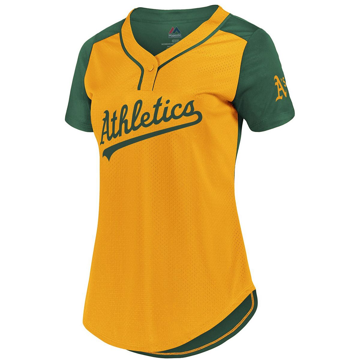 Women's Majestic Gold/Green Oakland Athletics League Diva Cool Base Mesh T-Shirt lmG7F