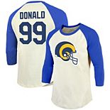 Men's Majestic Threads Aaron Donald Cream/Royal Los Angeles Rams Vintage Inspired Player Name & Number Raglan 3/4-Sleeve T-Shirt