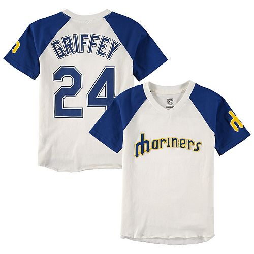 Youth Majestic Ken Griffey Jr. Cream/Navy Seattle Mariners Game Tradition Name & Number V-Neck T-Shirt