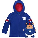 Toddler Cubcoats Royal New York Giants 2-in-1 Transforming Full-Zip Hoodie & Soft Plushie