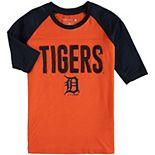 Girls Youth New Era Orange/Navy Detroit Tigers Crew Neck Raglan 3/4-Sleeve T-Shirt