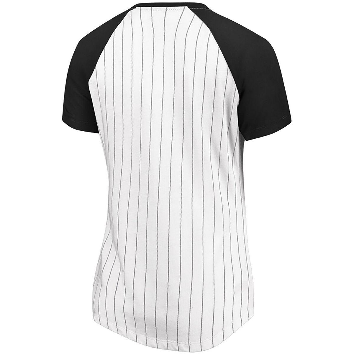Women's Majestic White Oakland Athletics Every Aspect Pinstripe Raglan V-Neck T-Shirt eViWy