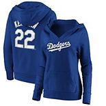 Women's Majestic Clayton Kershaw Royal Los Angeles Dodgers Player Name & Number Crossover Neck Pullover Hoodie