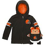 Toddler Cubcoats Brown Cleveland Browns 2-in-1 Transforming Full-Zip Hoodie & Soft Plushie
