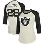 Women's Majestic Threads Josh Jacobs Cream/Black Oakland Raiders Vintage Inspired Player Name & Number Raglan 3/4-Sleeve T-Shirt