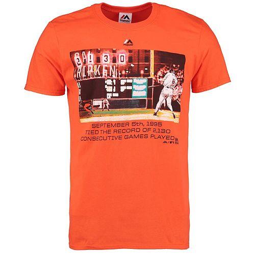 Men's Majestic Cal Ripken Jr. Orange Baltimore Orioles Cooperstown Genuine Player T-Shirt