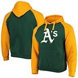 Men's Stitches Green/Yellow Oakland Athletics Color Block Raglan Pullover Hoodie