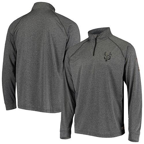 Men's Stitches Heathered Gray San Francisco Giants Two-Hit Quarter-Zip Raglan Pullover Jacket
