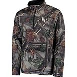 Men's Majestic Camo Kansas City Royals Sweat and Determination Half-Zip Pullover Jacket