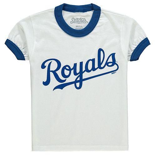 Youth Stitches White/Royal Kansas City Royals Ringer T-Shirt