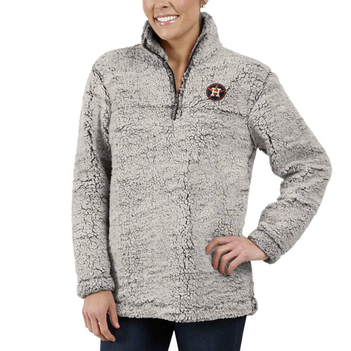 Women's G-III 4Her by Carl Banks Gray Houston Astros Sherpa Quarter-Zip Pullover Jacket pyfK5