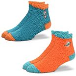 Women's For Bare Feet Miami Dolphins 2-Pack Sleep Soft Socks