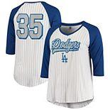 Women's 5th & Ocean by New Era Cody Bellinger White/Royal Los Angeles Dodgers Plus Size Player Pinstripe Raglan 3/4-Sleeve T-Shirt
