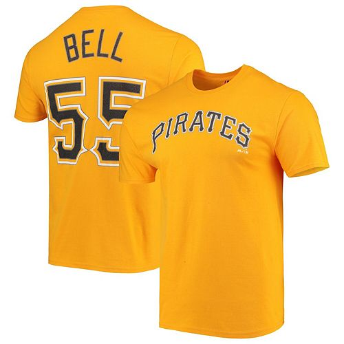 Men's Majestic Josh Bell Gold Pittsburgh Pirates Official Name & Number T -Shirt
