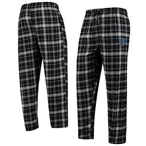 Men's Concepts Sport Black/Gray Miami Marlins Team Ultimate Plaid Flannel Pants