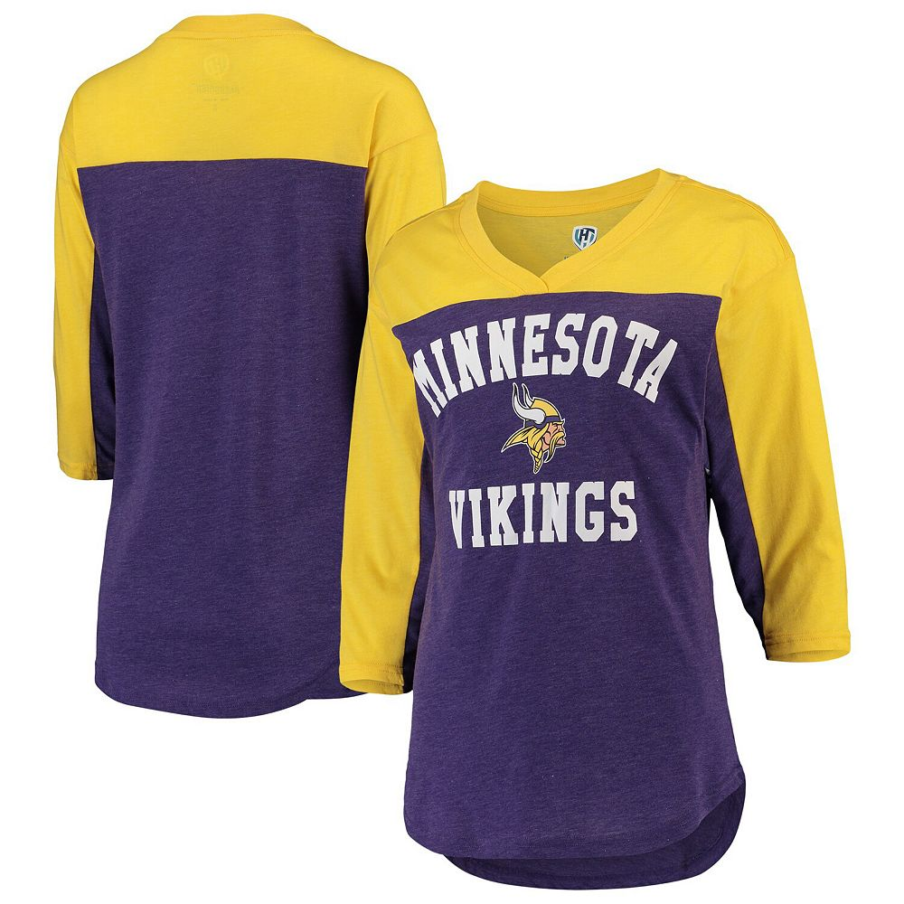 Women's Hands High Purple/Gold Minnesota Vikings In the Zone 3/4-Sleeve V-Neck T-Shirt