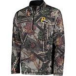 Men's Majestic Camo Pittsburgh Pirates Sweat and Determination Half-Zip Pullover Jacket