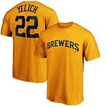 Men's Majestic Christian Yelich Gold Milwaukee Brewers 2020 Official Name & Number T-Shirt