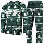 Men's Green New York Jets Holiday Wordmark Ugly Pajama Set