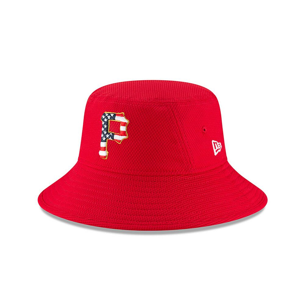 Men's New Era Red Pittsburgh Pirates 2018 Stars & Stripes 4th of July Bucket Hat