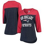 Women's Hands High Navy/Red New England Patriots In the Zone 3/4-Sleeve V-Neck T-Shirt