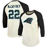 Men's Majestic Threads Christian McCaffrey Cream/Black Carolina Panthers Vintage Inspired Player Name & Number Raglan 3/4-Sleeve T-Shirt