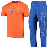 Men's Concepts Sport Heathered Orange/Royal New York Mets Topic T-Shirt & Pants Sleep Set