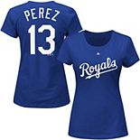 Women's Majestic Salvador Perez Royal Kansas City Royals Name & Number T-Shirt
