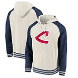 Men's Fanatics Branded Oatmeal Cleveland Indians Cooperstown Collection Logo Pullover Hoodie