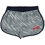 Girls Youth Under Armour Navy Texas Rangers Fast Lane Performance Shorts