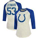 Women's Majestic Threads Darius Leonard Cream/Royal Indianapolis Colts Vintage Inspired Player Name & Number Raglan 3/4-Sleeve T-Shirt